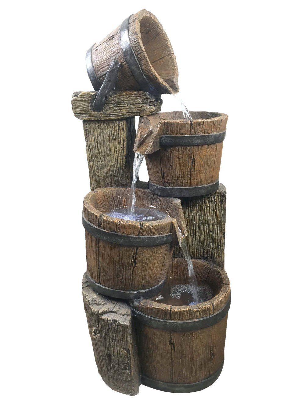 4 Pouring Wooden Barrels Water Feature By Aqua Creations Waterfeatures2go