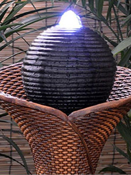 Solar Rattan Pillar And Ball Water Feature Waterfeatures2go